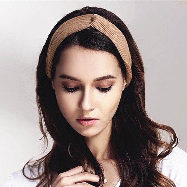 Frauen Häkeln Elastische Twist Stirnbänder Bogen Turban Stirnband