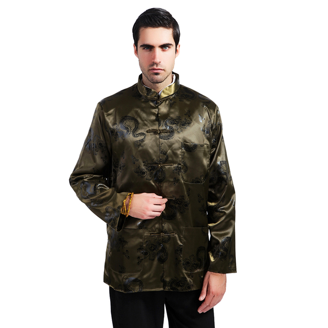 Army Green Chinese Men Kung Fu Jacket Silk Rayon Coat Autumn Casual Outwear Dragon Tang Suit Top Plus Size XXXL MS129