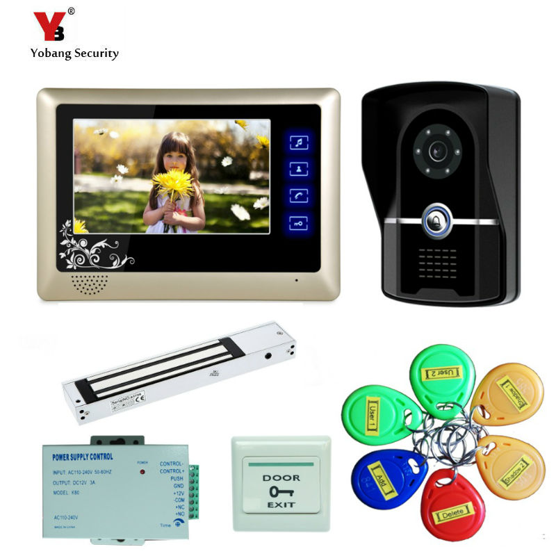 Yobang Security freeship 7 Color Record Screen Video Intercom Door bell Phone Kit + RFID Access Doorbell Camera+Electric lock yobang security freeship 7 video intercom for villa 2 monitor doorbell camera with 5pcs rfid cards hd doorbell camera in stock