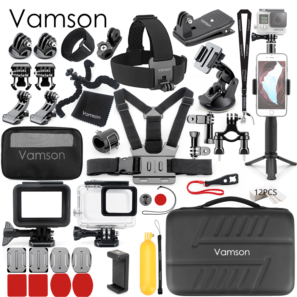 Vamson pour Gopro trépied monopode tête sangle de poitrine support pour go pro hero 7 noir 6 5 accessoires de caméra ensemble boîtier VS72