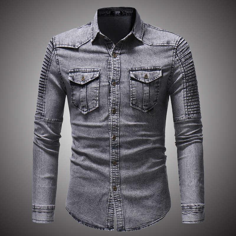 2018 Lente Herfst Hoge Kwaliteit Denim Shirt Mannen Toevallige Lange Mouwen Slim Fit Persoonlijkheid Pocket Blauw Hombre Blouse D2868