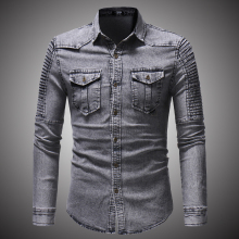 Aflczyu 2018 Spring Autumn Denim Shirt Men Casual Long Sleeve Fit Slim Pocket Black