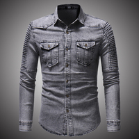 2018 Spring Autumn High Quality Denim Shirt Men Casual Long Sleeve Fit Slim Personality Pocket Black Blue Hombre Blouse D2868