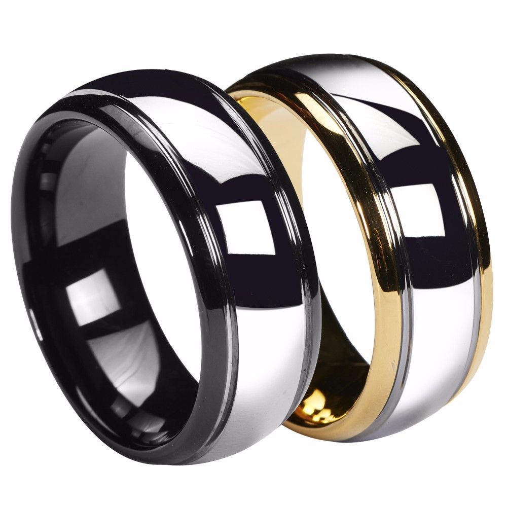 Aliexpresscom buy queenwish 8mm dome gold black mens for Mens gunmetal wedding rings