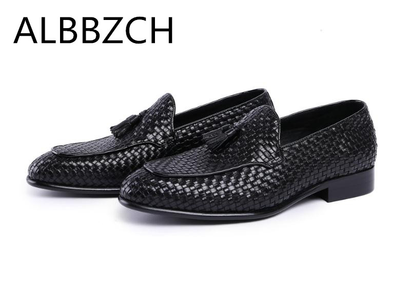 Spring summer genuine leather weave shoes men fashion tassel design wedding dress shoes pointed toe slip on breathable work shoeSpring summer genuine leather weave shoes men fashion tassel design wedding dress shoes pointed toe slip on breathable work shoe