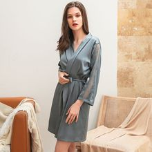 Women Silk Satin Night Robe Solid Kimono Robes Sexy Openwork Lace Bathrobe Peignoir Bride Bridesmaid Robe Night Dressing Gown
