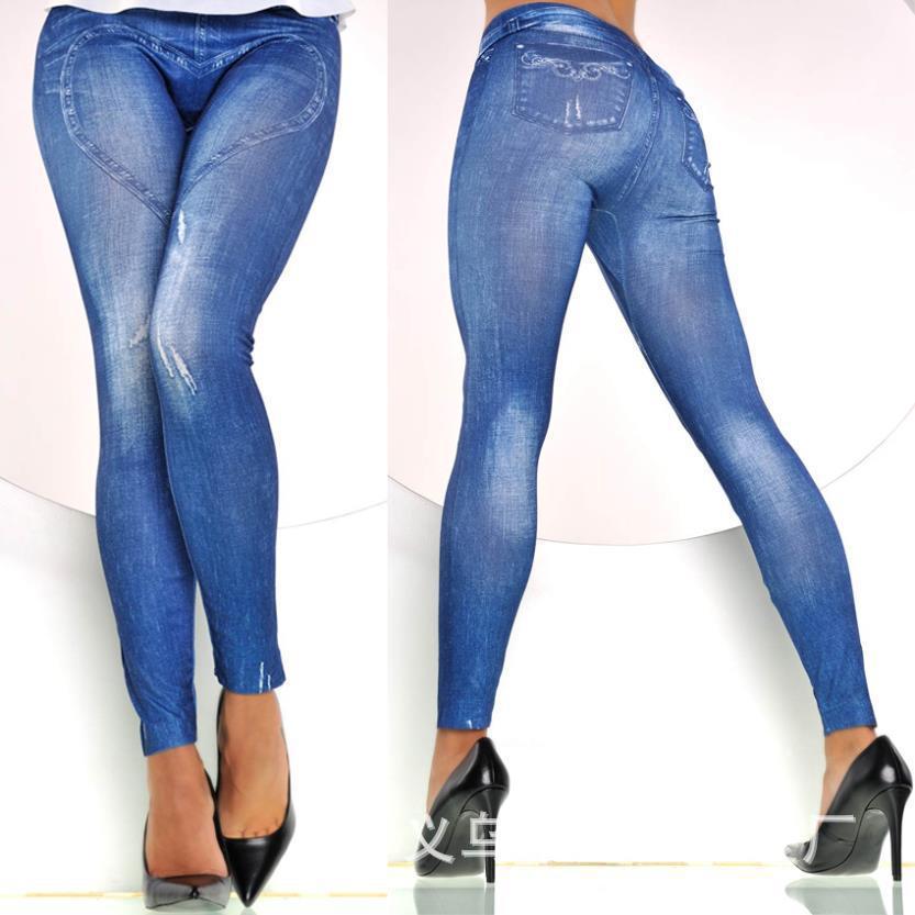 2015 Jean women Ripped Stretchy Jeans Heart Denim Leggings ...