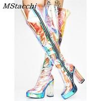 MStacchi 2019 Women Brand Design PVC Transparent Glitter Women Over The Knee Boots Platform Round Toe Zipper Over The Knee Boots