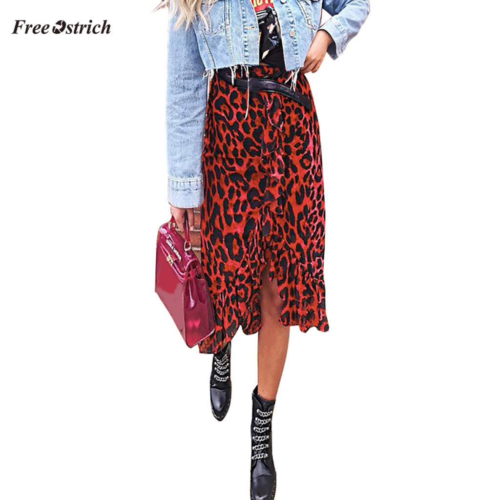 Free Ostrich Clothes Women Skirt Leopard Print Vintage Long Women's Casual High Waist Pleated Skirt 2020 fashion summer skirts