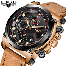LIGE Luxury Brand Military Watches Men Quartz Chronograph 6 Hands Leather Clock Man Sports Army Wrist Watch Relogios Masculino цена