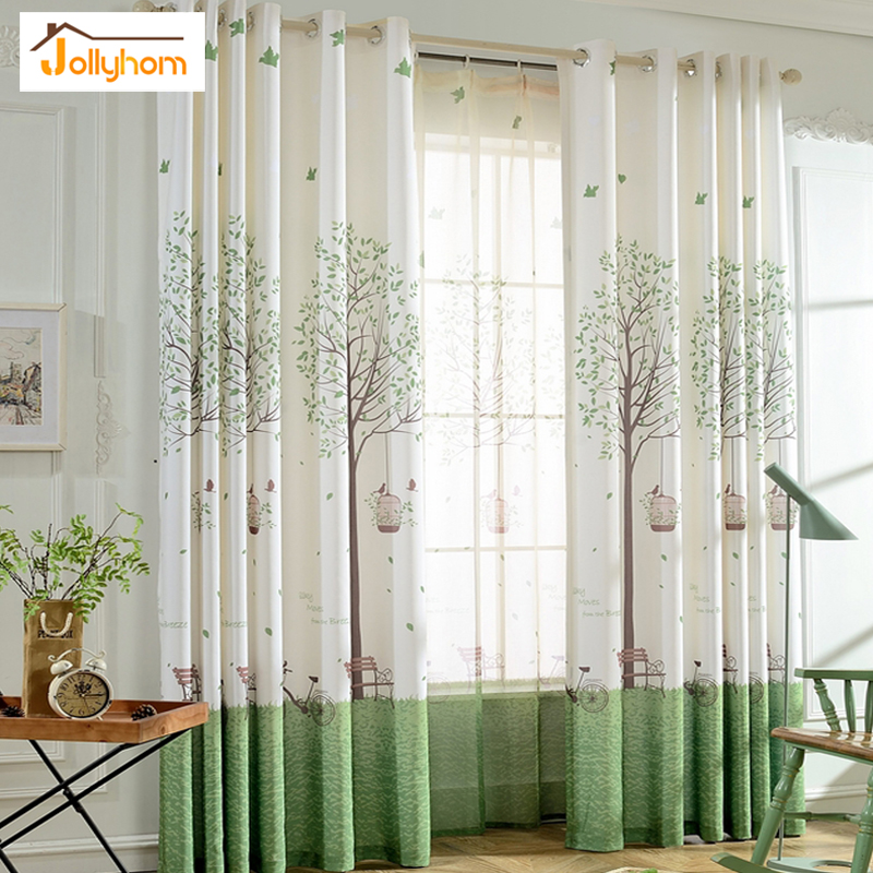 Natural Style Printed Blackout Curtains Matching Sheer Curtains Bedroom Living Room Balcony 78% Shade Curtain Accept Custom 1pc