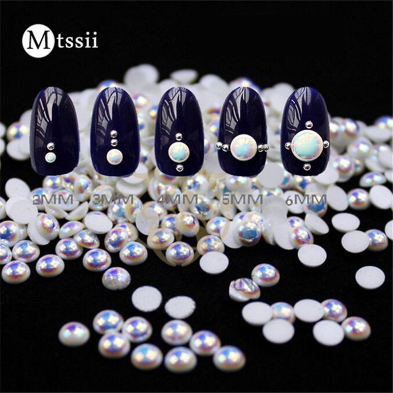 Mtssii 100pcs Colorful Resin Studs 2mm3mm4mm5mm Pearl Nail Art Decoration Acrylic UV Gel 3D Nail Art Charms BW3546