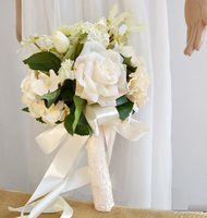 High Quality 2015 New Style Hand Made Silk Rose Flower With Long White Ribbon Bridal Bridesmaid
