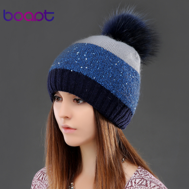 BOAPT rabbit sequins double-deck patchwork knited winter hats for women's natural raccoon fur pompom cap female skullies beanies