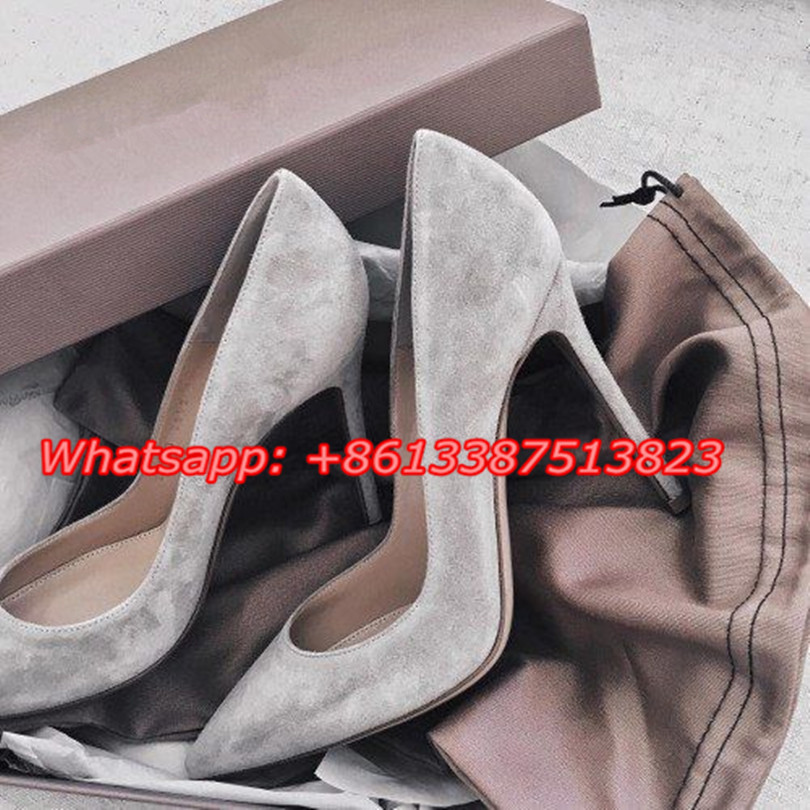 Sapato Feminino Women Gray Suede Leather Sexy Women Pumps Ponited Toe Slip-On Stiletto High Heels Dress Party Ladies Shoes Woman sapato