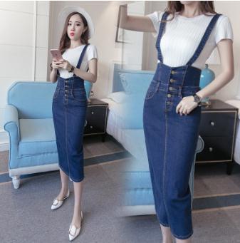 6385e394385 Длинная джинсовая юбка с лямками Для женщин Кнопка джинсы Юбки Плюс Размеры  длинные Высокая талия юбка-карандаш джинсовые юбки женские Saias .