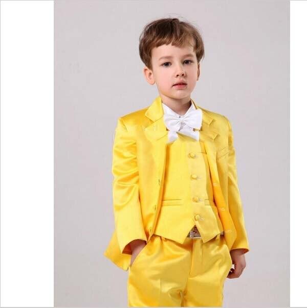 Customize Yellow Boy Tuxedos Notch Lapel Children Suit Latest ...