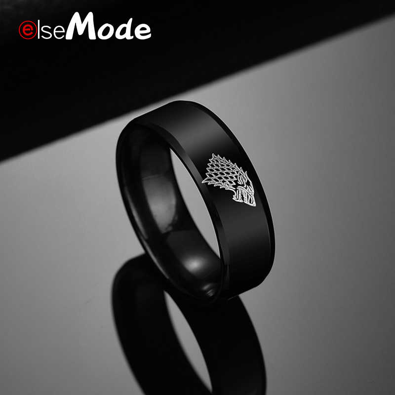 ELSEMODE  Black Color Game of Thrones Ice Wolf House Stark of Winterfell Men Ring Engraved Wolf Punk Vintage Rings