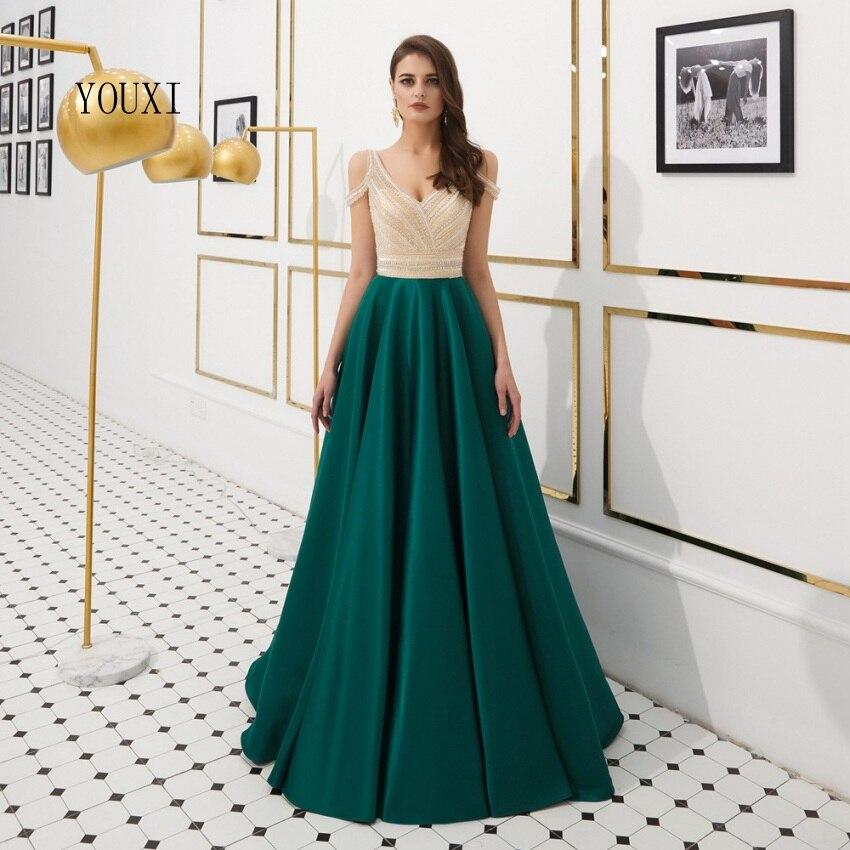 Luxe Satin robes de soirée 2019 v-cou vert perlé cristal robes de soirée liban Robe de soirée Longue