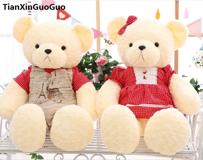 large 90cm couples bears dressed suits & red skirt teddy bear plush toy soft doll hugging pillow ,birthday ,wedding gift w2707 stuffed fillings love you bear plush toy large 140cm white teddy bear pink scarf bear doll hugging pillow birthday gift b1015