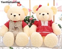 large 90cm couples bears dressed suits & red skirt teddy bear plush toy soft doll hugging pillow ,birthday ,wedding gift w2707