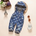 new 2016 autumn boys denim overall with hood baby girl jeans pant boys overalls children clothing