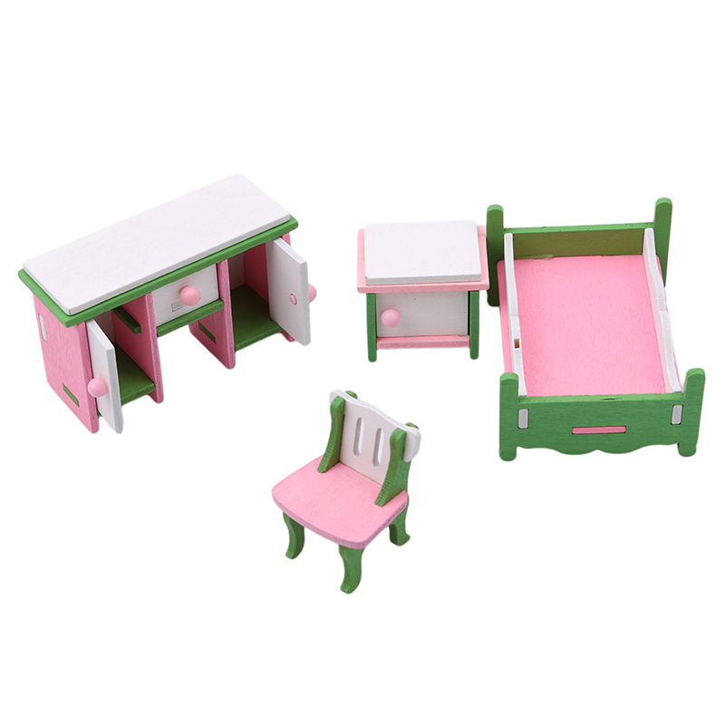 4-5pcs/set Creative Wooden Furniture Dollhouse Miniature Baby's Room Cottage Cradle Bed Hobbyhorse Chair Kid/Child <font><b>Toy</b></font> <font><b>House</b></font> image