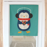 Music Penguin Japanese Decorative Door Curtains Fabric Cloth Cotton Home Screens Partition Curtains Without Tube