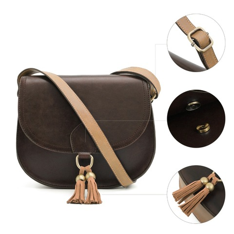 "ECOSUSI Women 10"" Saddle Bags PU Leather Messenger Bags Women Crossbody BuckleBags With Tassel Female Crossbody Bags Clutch Bag Lahore"