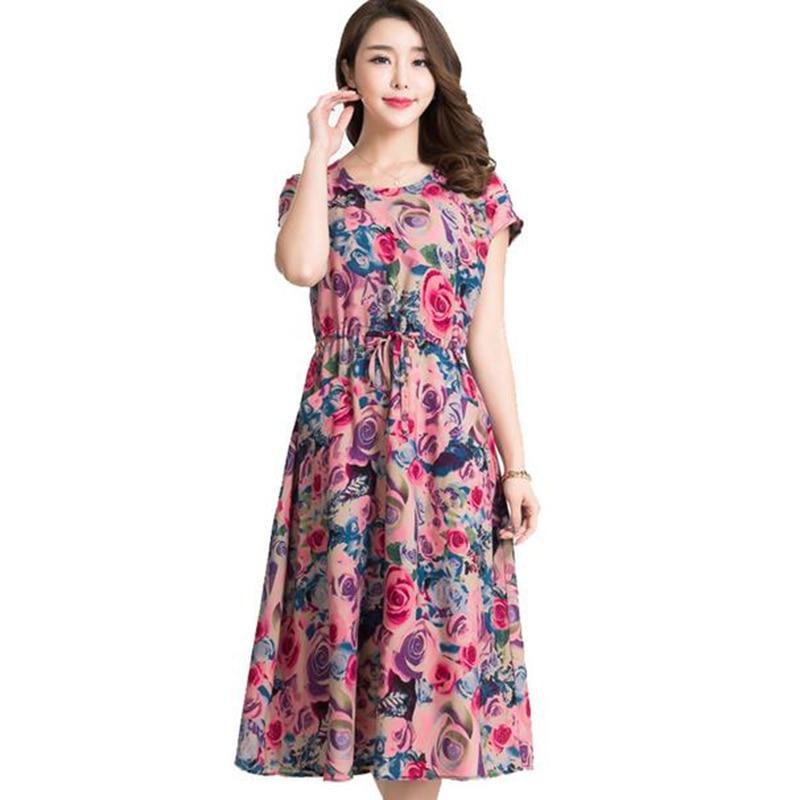 2017 nuevas mujeres del verano dress plus size madre de mediana edad imprimir ve