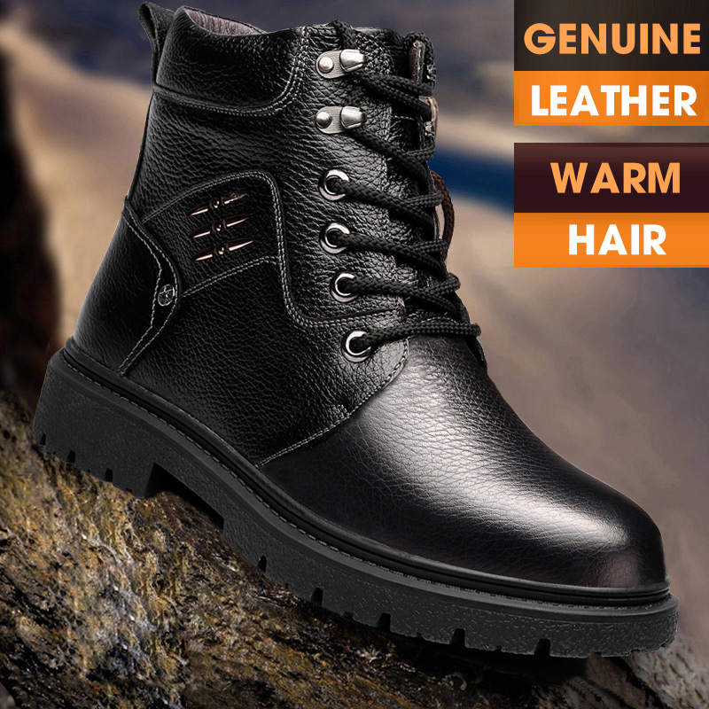 OSCO 2019 Men Boots Winter Military Black Boots Men Shoes Genuine Leather Lace-Up Round Toe High Quality Size 38-44
