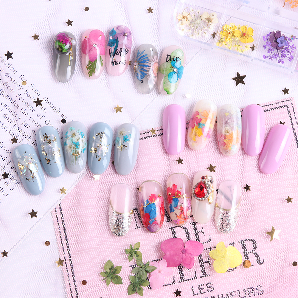 Mix Dried Flowers Nail Decorations Jewelry Natural Floral Leaf Stickers 3D Nail Art Designs Polish Manicure Accessories (14)