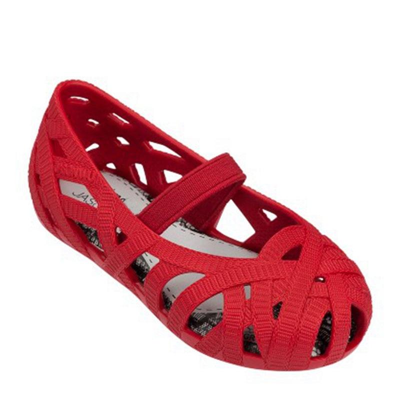 2017 BARU Gadis Sandal Kulit Lembut PVC Gadis Sepatu Datar dengan Berpori Bernapas Anak Sandal Sepatu Elastis Band Childrens