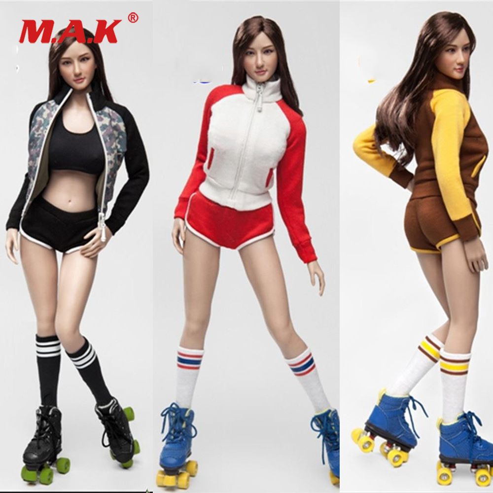 1/6 Scale Female Roller Girl Female Character Clothes Set & Head & Shoes Accessory Model for 12 inches Woman Action Figure Body 1 6 scale female batgirl suits clothes mask set for 12 inches female action figure accessories