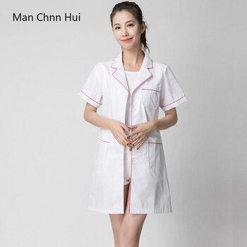 6402542a654c8 Летняя форма медсестры, медицинская одежда костюм больничной медсестры  Женская медицинская Униформа элегантный белый лабораторный халат