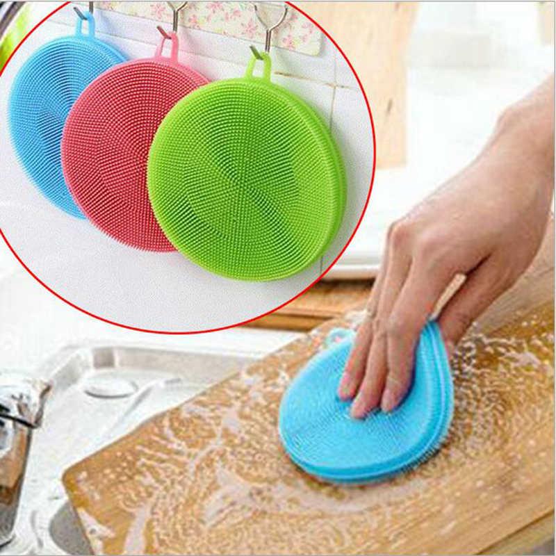 キッチンアクセサリーシリコーン皿洗浄ブラシボウルポットパン洗浄クリーニングブラシ調理ツールクリーナースポンジ精練パッド