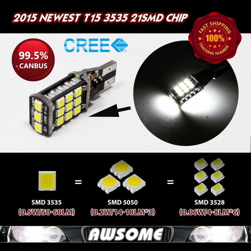 2x T15 W16W LED CANBUS 3535 21SMD LED High Power Car Turn Singal Width 3rd Brake 1200LM-1400LM