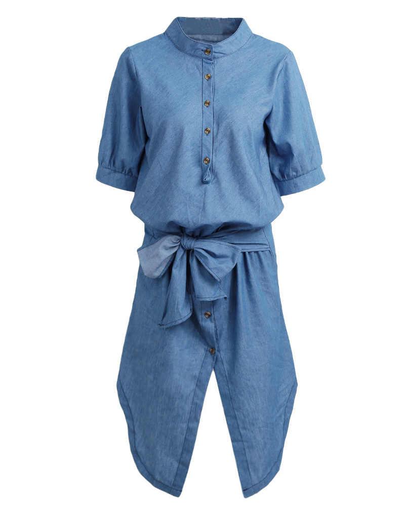 Для женщин джинсовая рубашка платье сзади длинное-спереди короткое подол галстук-бабочка Летнее платье с бантом 2019 со стоячим воротником с коротким рукавом Повседневное цельное платье синего цвета