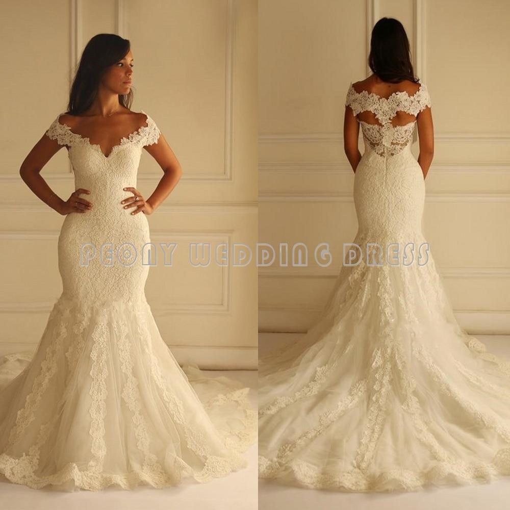 Elegant Ivory Lace Wedding Dresses Women V Neck Pretty