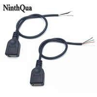 NinthQua 1 stücke 30 cm USB 2.0 Weibliche Stecker Jack Power Kabel 2Pin 4Pin Schwarz Lade Daten Linie Stecker DIY Teile