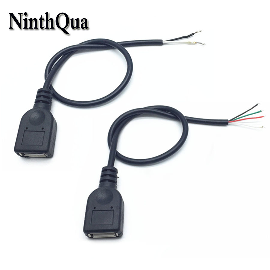 NinthQua 1pcs 30cm USB 2.0 Female Plug Jack Power Cable 2Pin 4Pin Black Charging Data Line Connector DIY Parts