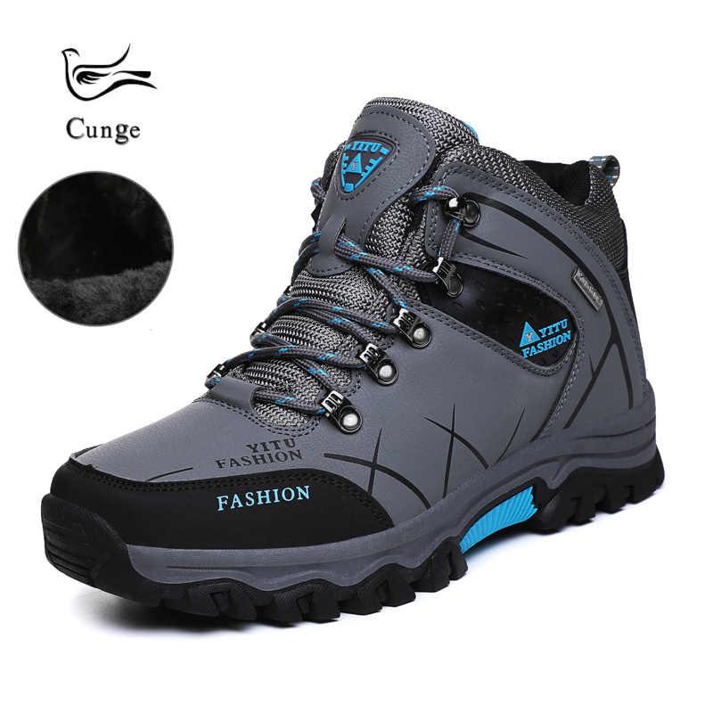 Мужская Уличная зимняя теплая обувь нескользящая для пешего туризма и рыбалки