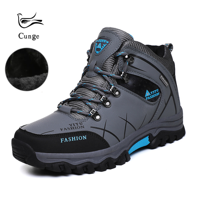 Men Outdoor Winter Warm Shoes Anti-skid Anti-collision Hiking Fishing Shoes Breathable Trekking Trend Comfortable Boots Shoes