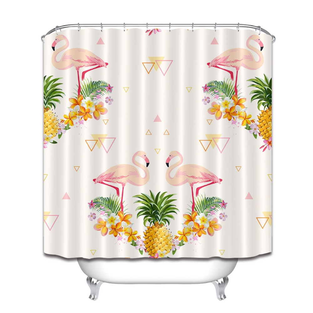 Tropical Pineapple Hawaii Summer Plants Pink Flamingo Print Shower Curtain Bathroom Polyester Bath Curtains Decor Free Shipping In From Home