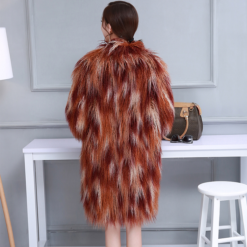 Grande Taille Furry 7xl Fluffy 6xl Poilu Mouton Mongolie Femmes Multicolor Nerazzurri Coloré Veste Fausse Shaggy En De Manteau D'hiver Fourrure PTw51fSqv