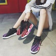 Calçados vulcanizados sapatos das mulheres respirável meias, misturado-cores sapatos casuais