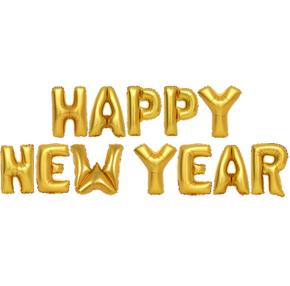 16 polegadas 40 cm capital carta FELIZ ANO NOVO conjunto folha de mylar  Balões de hélio para o Aniversário Festa de casamento Decoração de vitrine 94bc94a53b