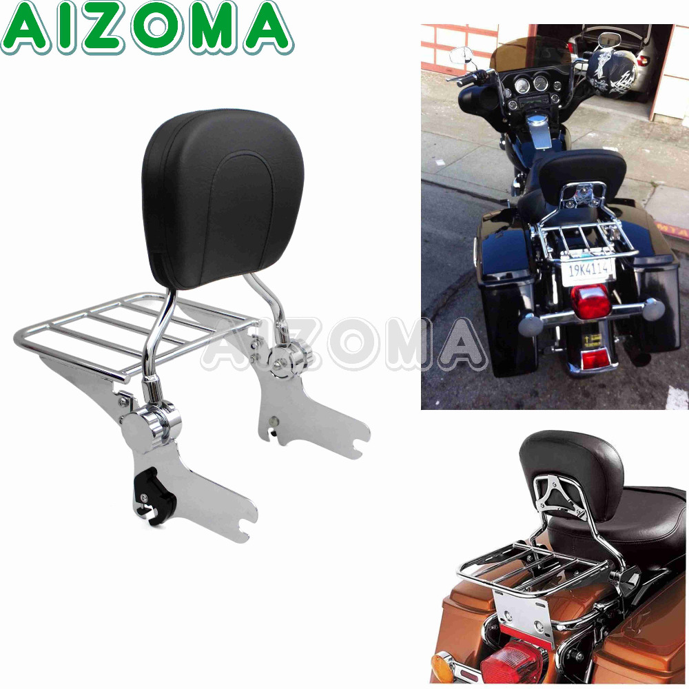 купить Motorcycle Adjustable Rear Passenger Backrest Pad Sissy Bar With Chrome Detachable Luggage Rack For Harley Touring Road Glide