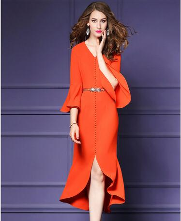 HAMALIEL Business Asymmetrical Autumn Women Dress 2018 Orange Flare Sleeve Single Breasted V Neck Bodycon OL Dress With Belt