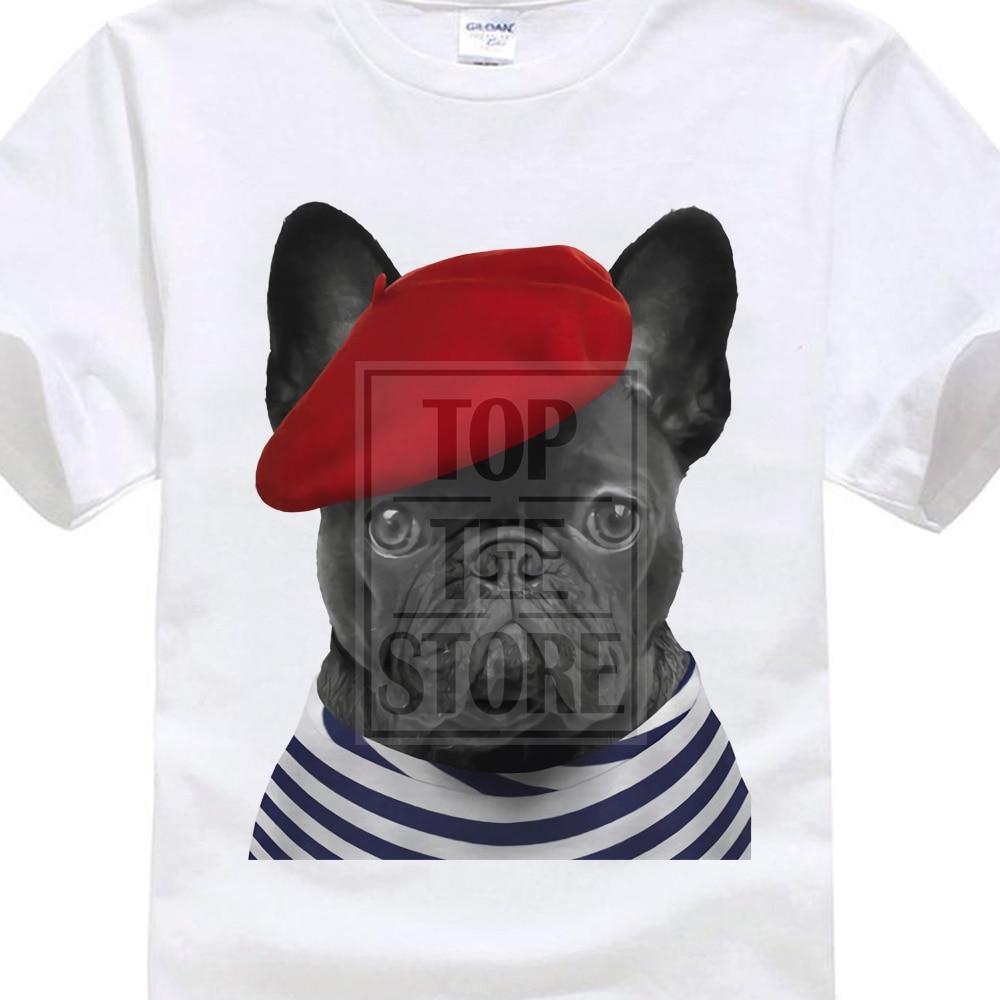 MenS Classical leisure Harajuku T Shirt Frenchie T-Shirt French Bulldog T-Shirt Cute Paris Chien City Of Love Top Animal